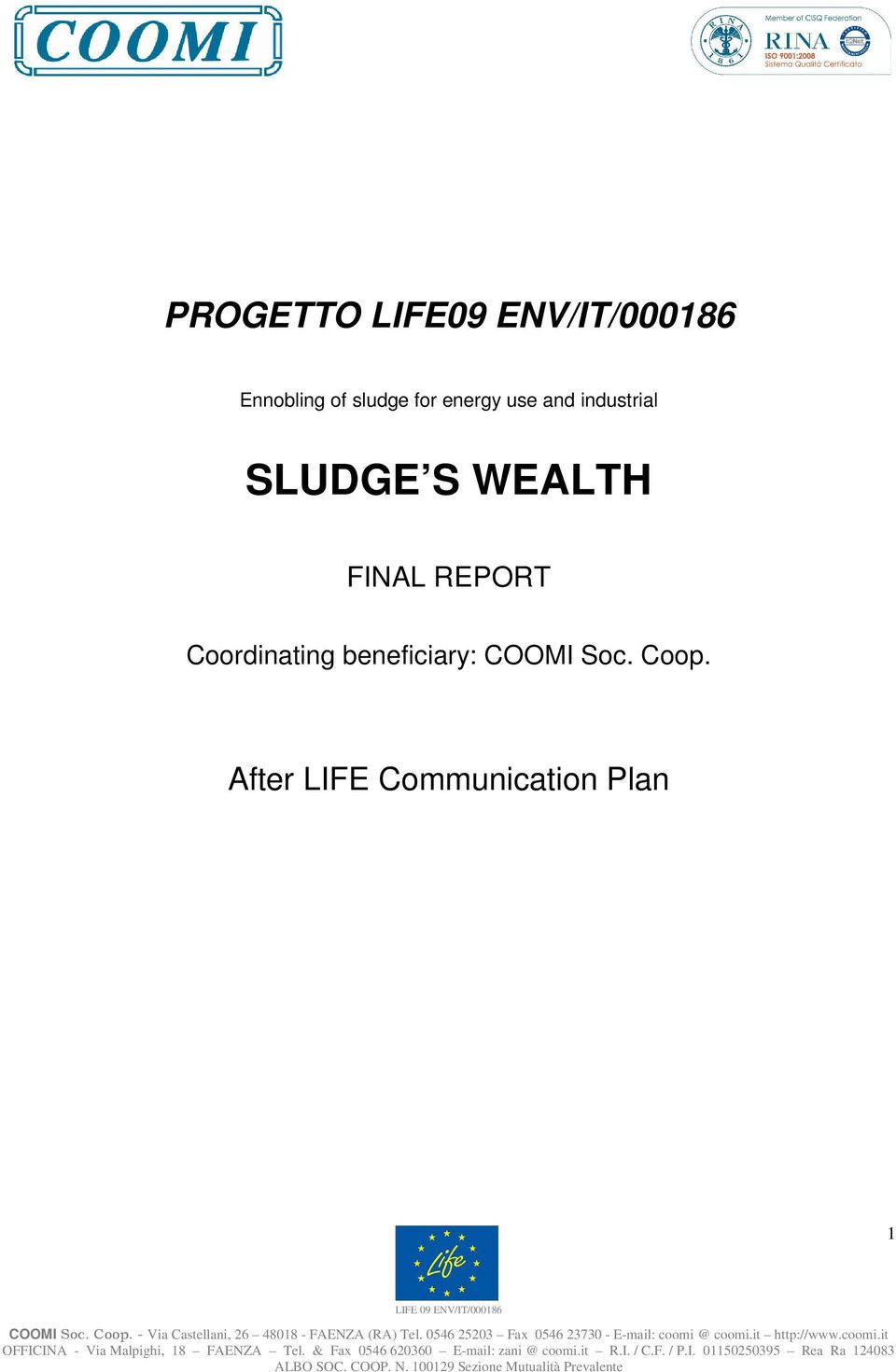 WEALTH FINAL REPORT Coordinating beneficiary: