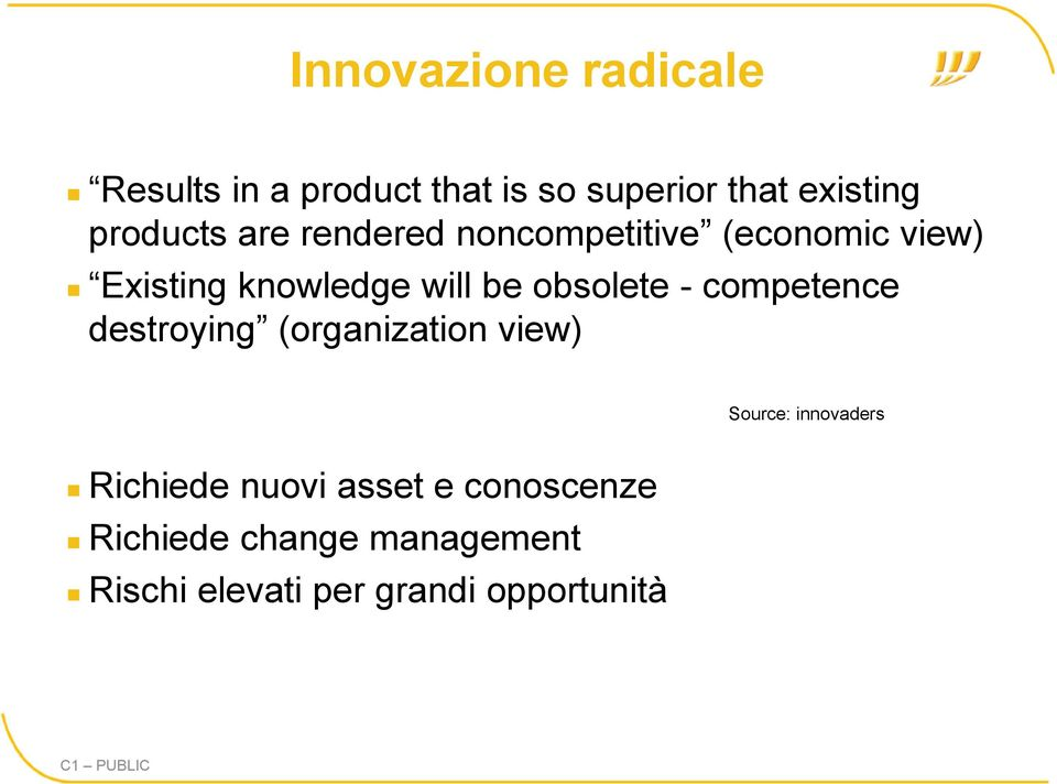 obsolete - competence destroying (organization view) Source: innovaders Richiede