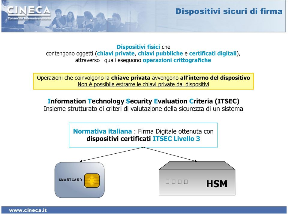 Non è possibile estrarre le chiavi private dai dispositivi Information Technology Security Evaluation Criteria (ITSEC) Insieme strutturato