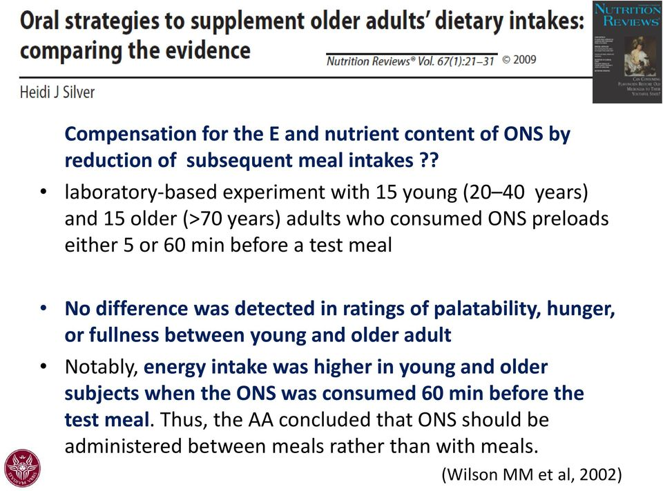 a test meal No difference was detected in ratings of palatability, hunger, or fullness between young and older adult Notably, energy intake was