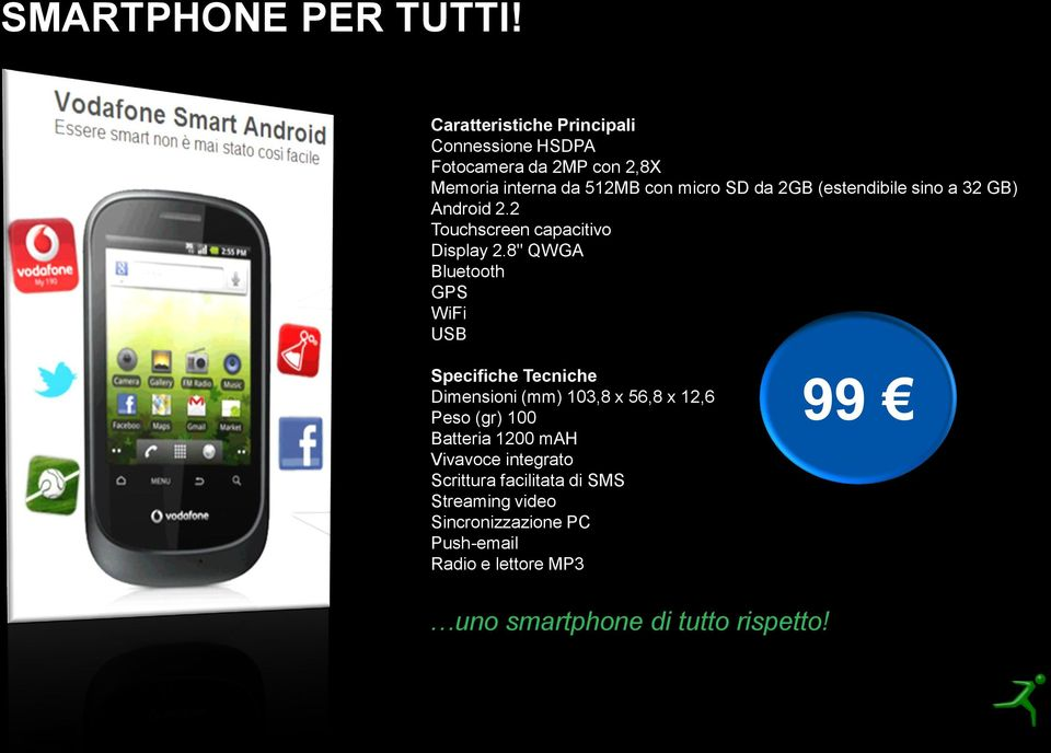 (estendibile sino a 32 GB) Android 2.2 Touchscreen capacitivo Display 2.