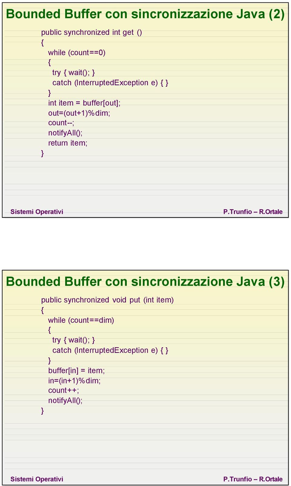 return item; Bounded Buffer con sincronizzazione Java (3) public synchronized void put (int item) while