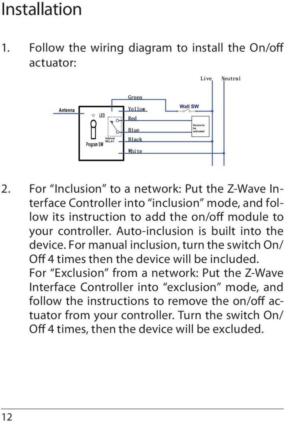 controller. Auto-inclusion is built into the device. For manual inclusion, turn the switch On/ Off 4 times then the device will be included.