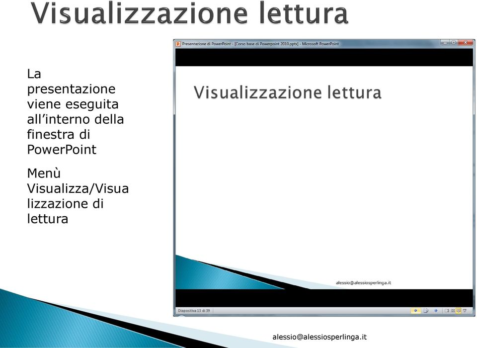 finestra di PowerPoint Menù