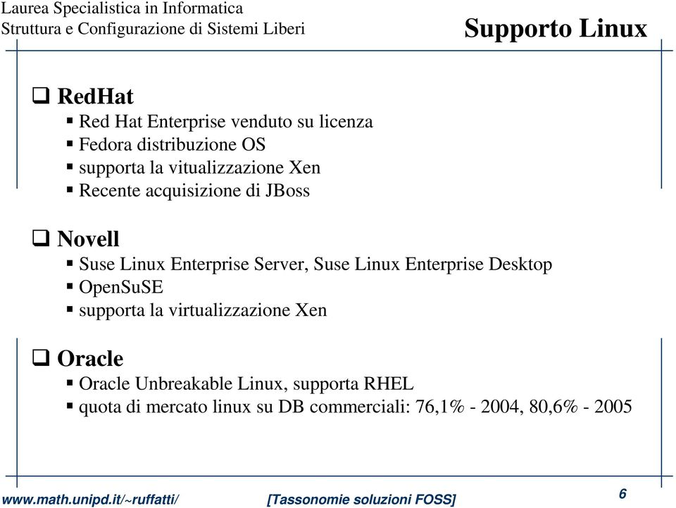 Suse Linux Enterprise Desktop OpenSuSE supporta la virtualizzazione Xen Oracle Oracle