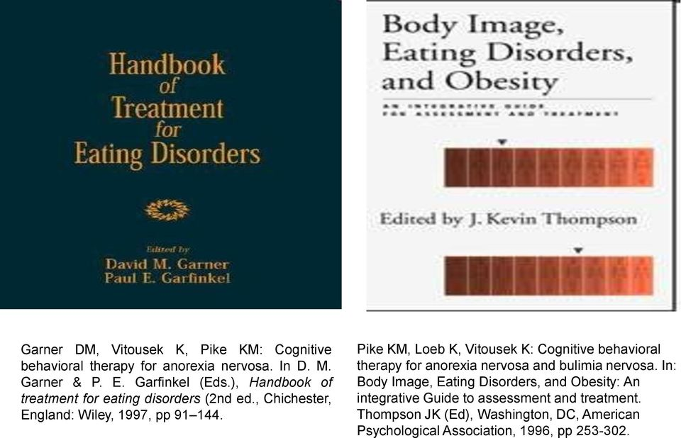 Pike KM, Loeb K, Vitousek K: Cognitive behavioral therapy for anorexia nervosa and bulimia nervosa.