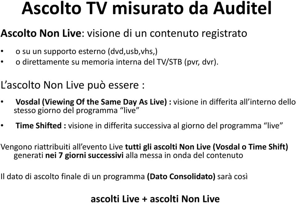 L ascolto Non Live può essere : Vosdal(Viewing Of the Same Day As Live) : visionein differita all interno dello stesso giorno del programma live TimeShifted: