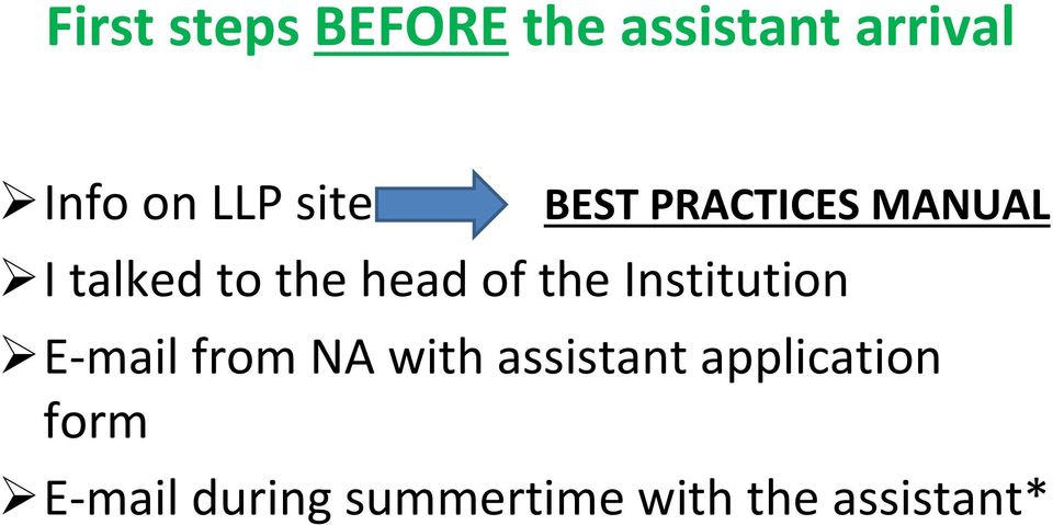 the Institution E mail from NA with assistant