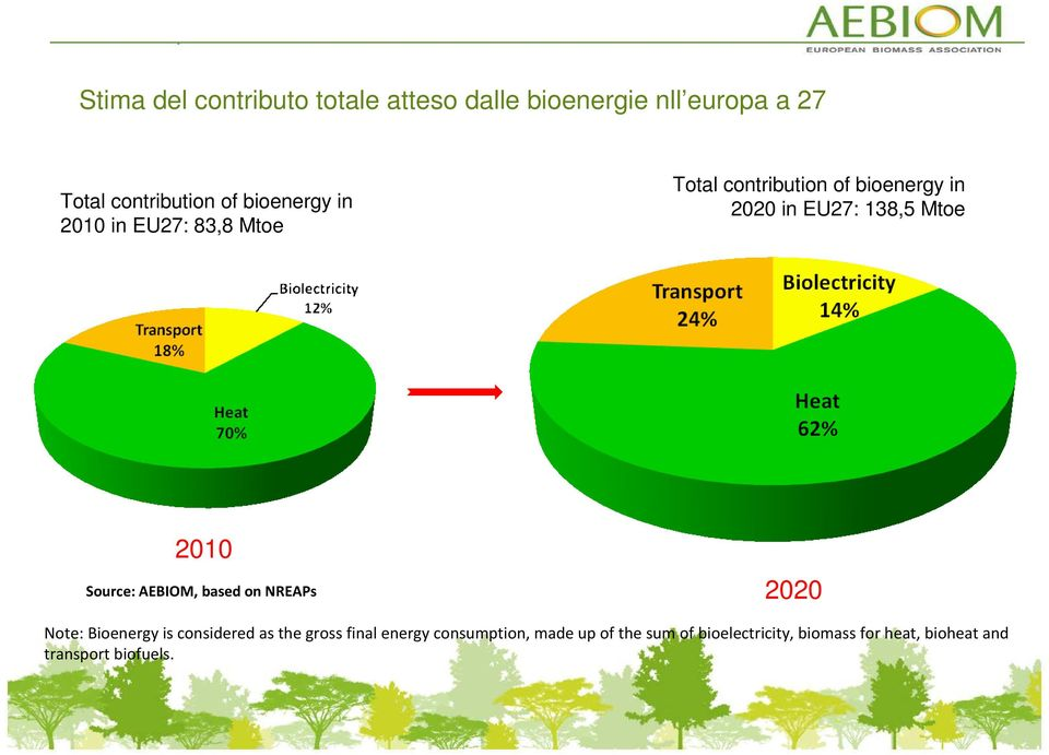 2010 Source: AEBIOM, based on NREAPs 2020 Note: Bioenergy is considered as the gross final