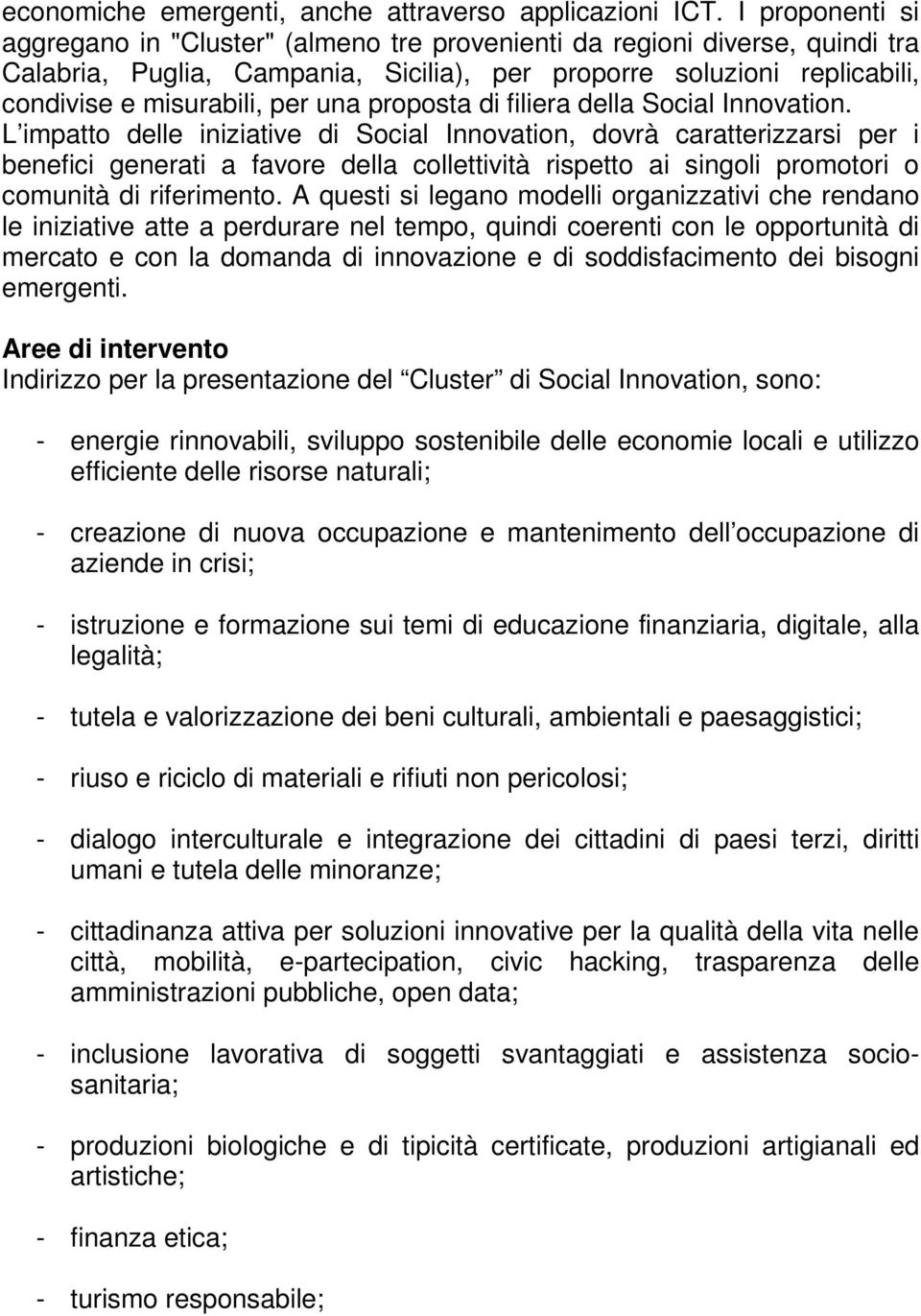 proposta di filiera della Social Innovation.