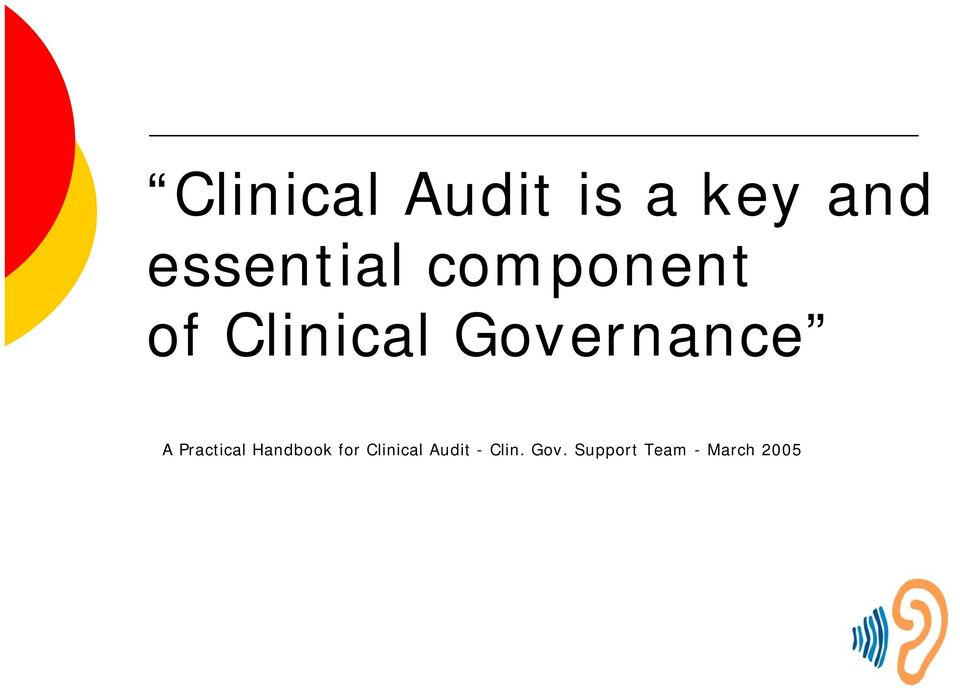 Practical Handbook for Clinical Audit