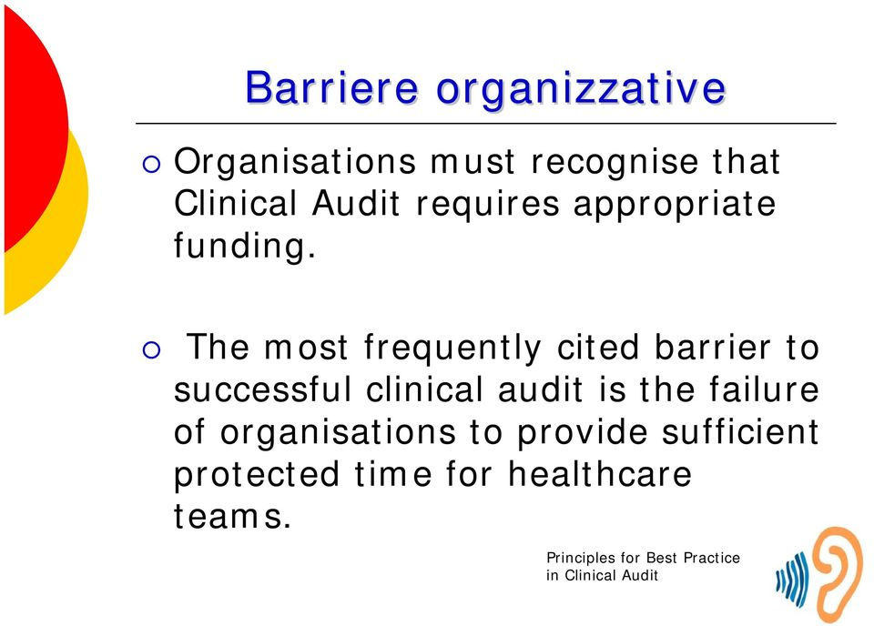The most frequently cited barrier to successful clinical audit is the