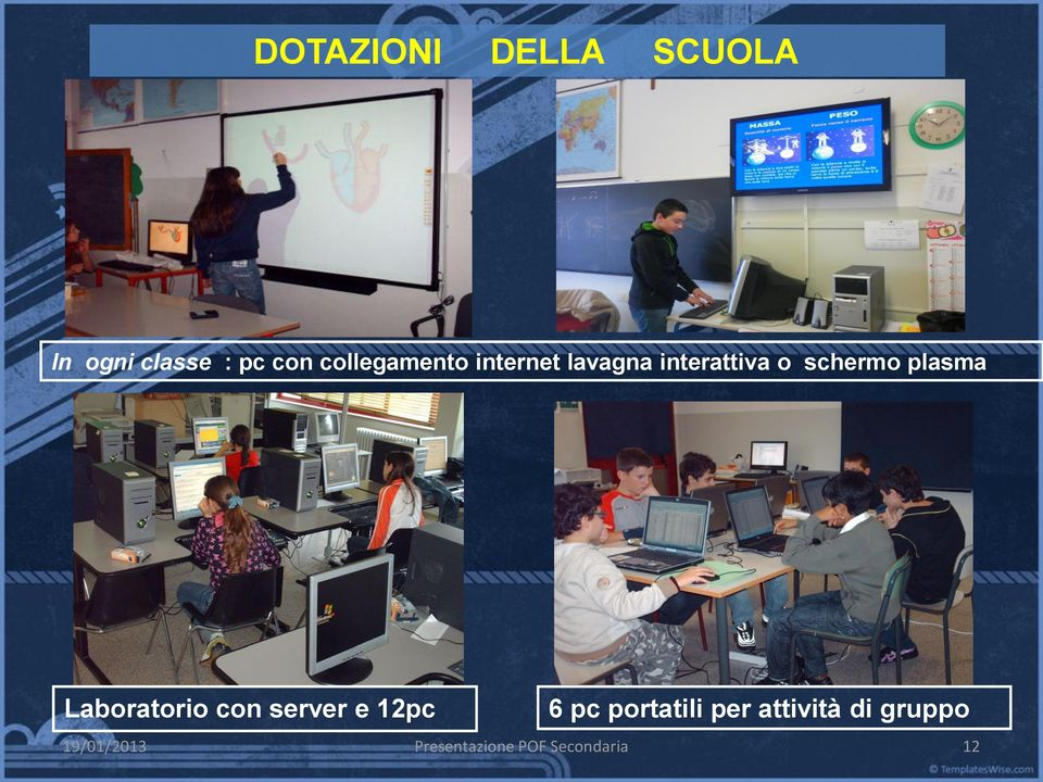 plasma Laboratorio con server e 12pc 6 pc portatili
