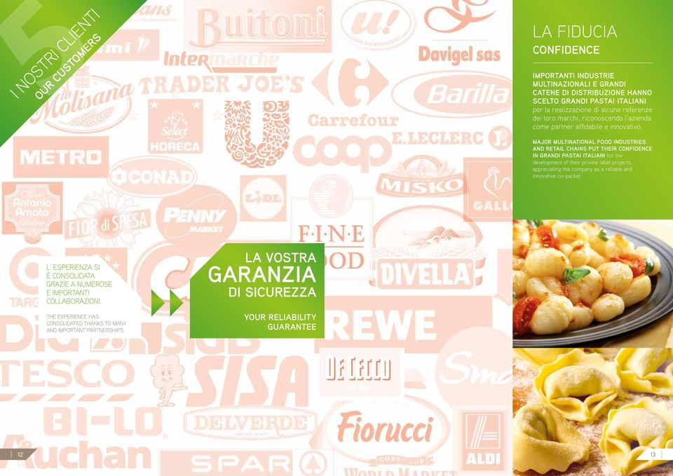 Major multinational food industries and retail chains put their confidence in Grandi Pastai Italiani for the development of their private label projects, appreciating the
