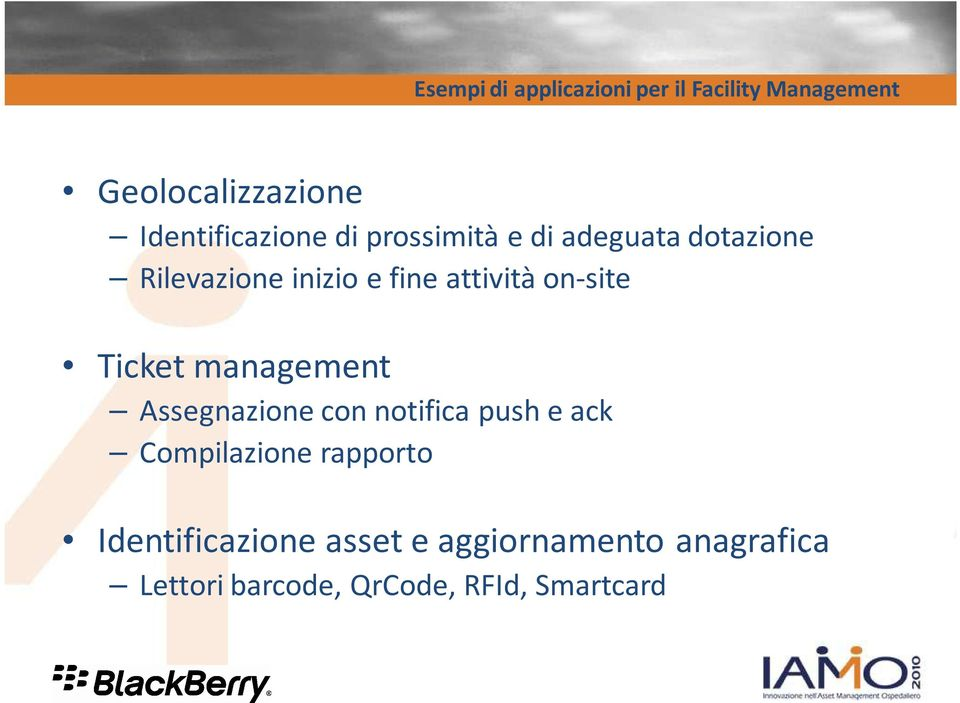 attività on-site Ticket management Assegnazione con notifica push e ack