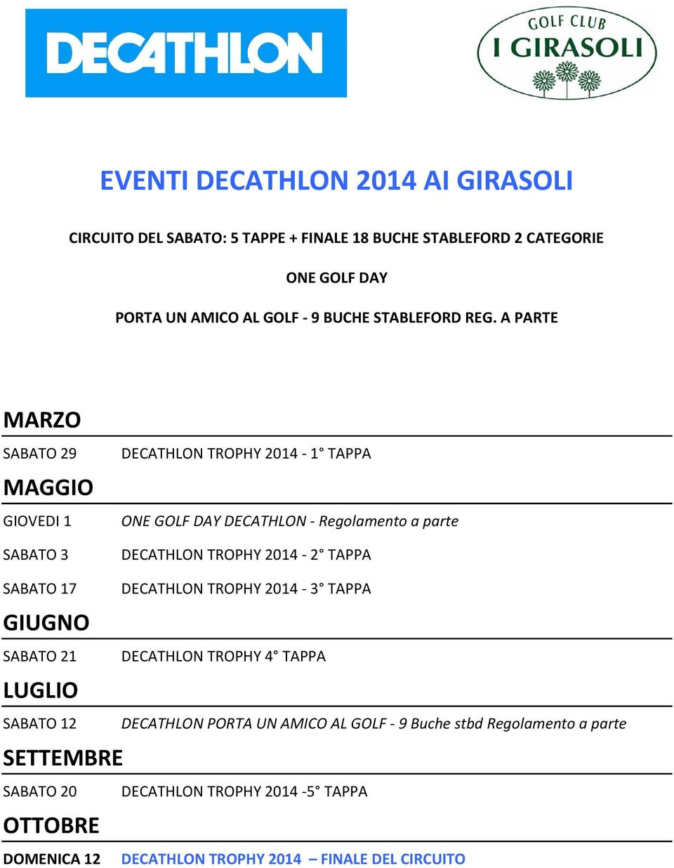 A PARTE MARZO SABATO 29 GIOVEDI 1 SABATO 3 DECATHLON TROPHY 2014-1 TAPPA ONE GOLF DAY DECATHLON - Regolamento a parte DECATHLON TROPHY