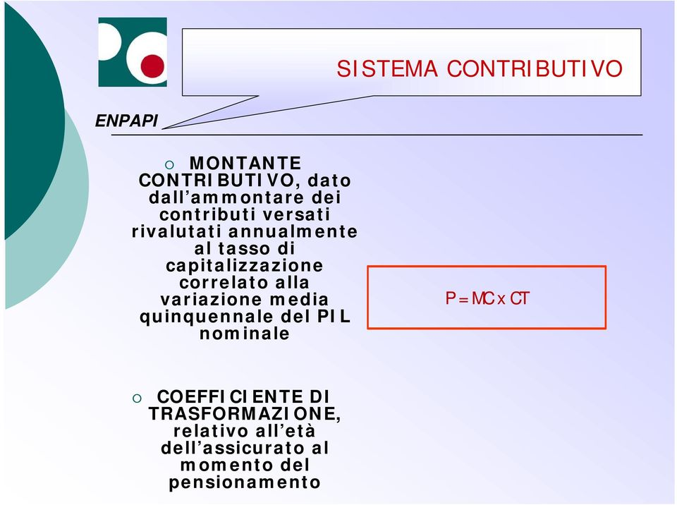 correlato alla variazione media quinquennale del PIL nominale P = MC x CT