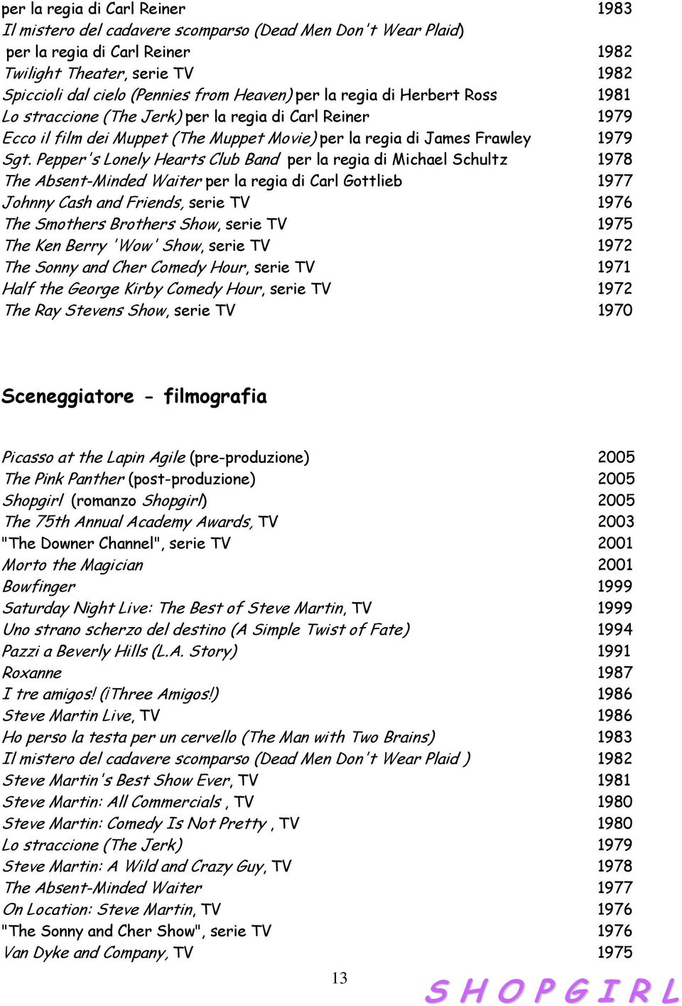 Pepper's Lonely Hearts Club Band per la regia di Michael Schultz 1978 The Absent-Minded Waiter per la regia di Carl Gottlieb 1977 Johnny Cash and Friends, serie TV 1976 The Smothers Brothers Show,