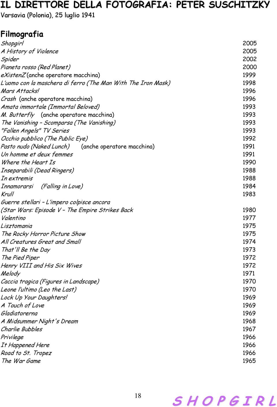 "Butterfly (anche operatore macchina) 1993 The Vanishing Scomparsa (The Vanishing) 1993 ""Fallen Angels"" TV Series 1993 Occhio pubblico (The Public Eye) 1992 Pasto nudo (Naked Lunch) (anche operatore"