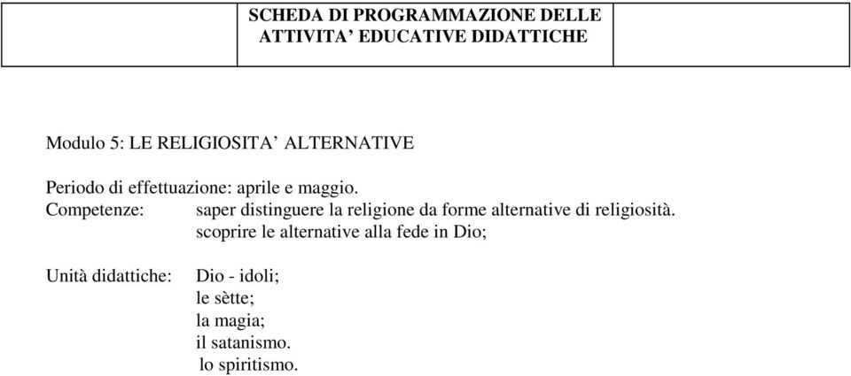 Competenze: saper distinguere la religione da forme alternative di