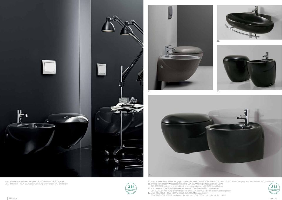 lavabo nero dream 90 sospeso monoforo CLA 200/90 con portasciugamani CL PU CLA 200/90 90 wall-hung dream black one-hole washbasin with CLPU towel-holder 03.