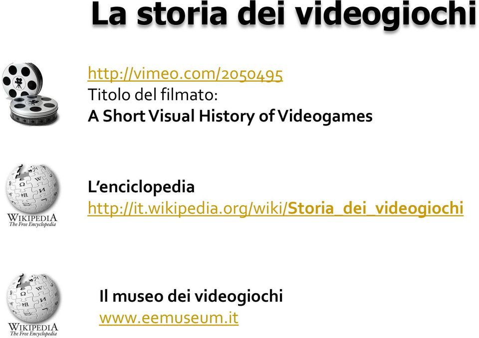 History of Videogames L enciclopedia http://it.