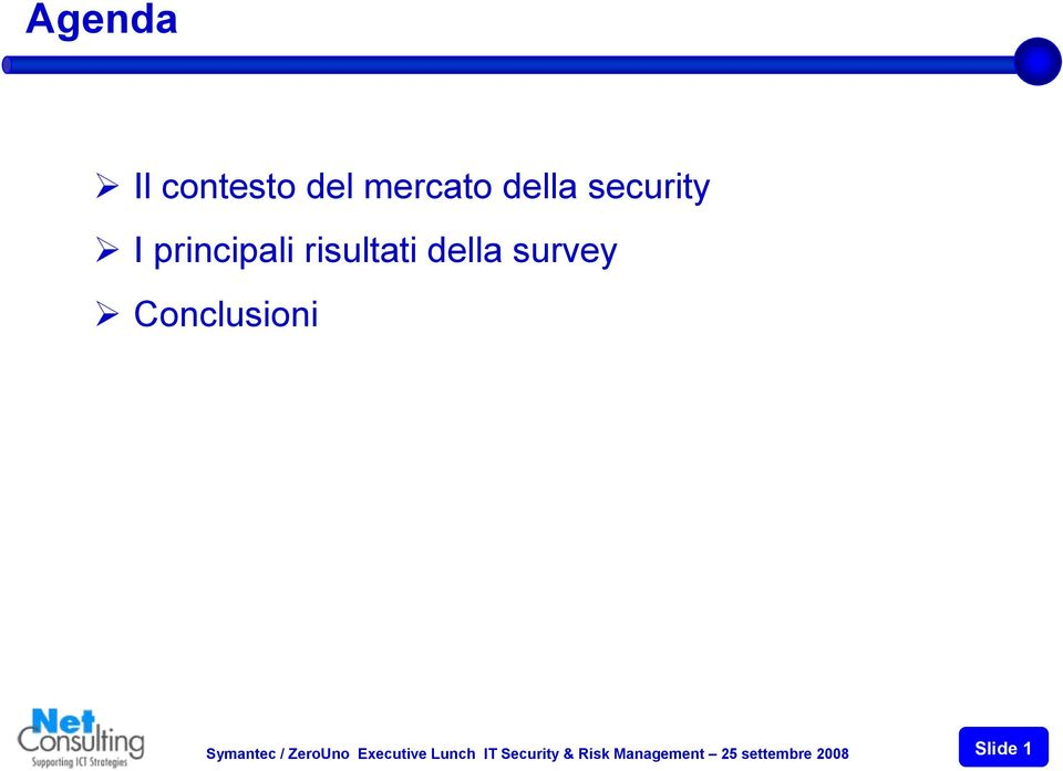 Conclusioni Symantec / ZeroUno Executive