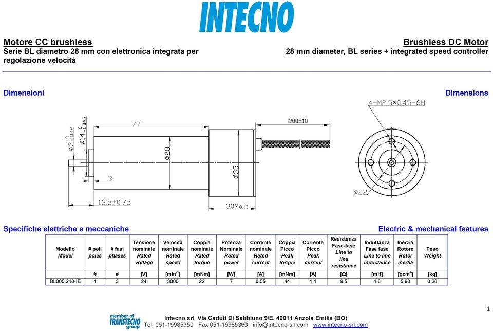 power Corrente current Corrente current Resistenza Fase-fase Line to line resistance Induttanza Fase fase Line to line inductance Electric & mechanical
