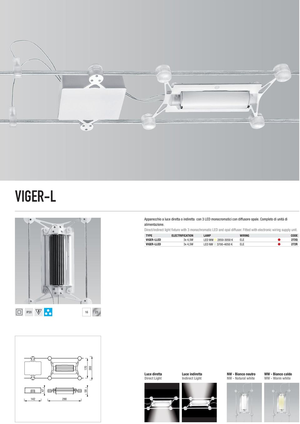 ELECTRIFICATION LAMP WIRING VIGER-LLED 3x 4,5W LED WW 2850-3050 K ELE 272Q VIGER-LLED 3x 4,5W LED NW 3700-4050 K ELE 272R IP20 16