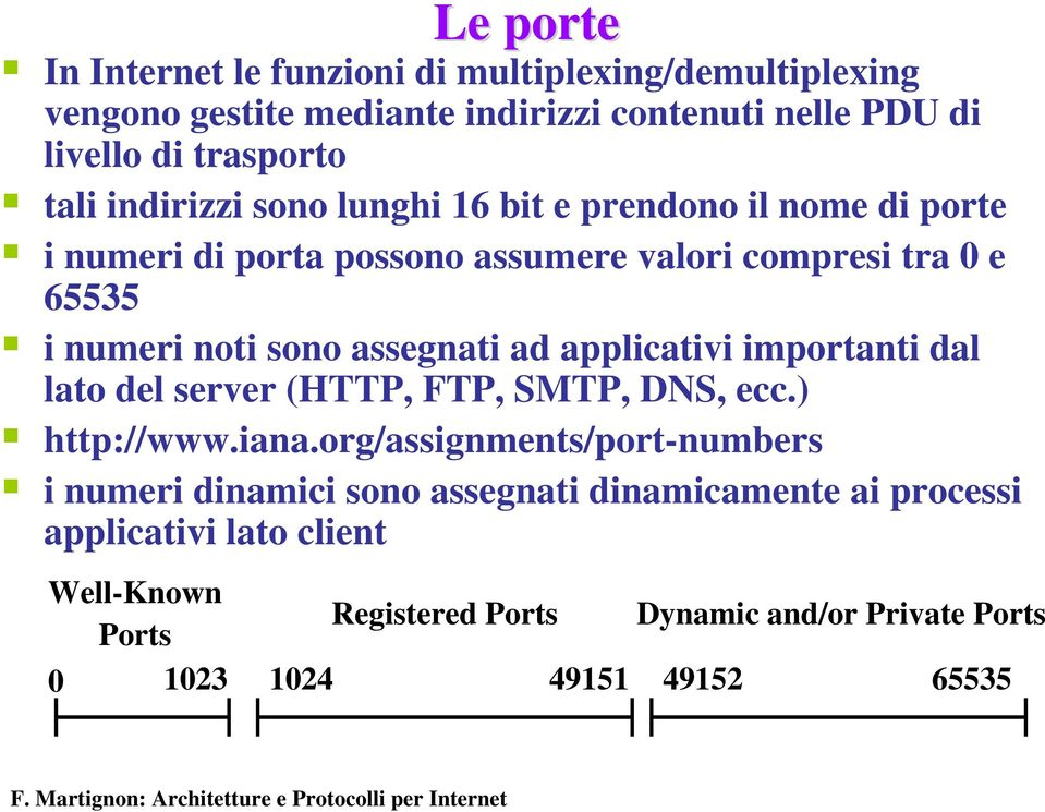 assegnati ad applicativi importanti dal lato del server (HTTP, FTP, SMTP, DNS, ecc.) http://www.iana.