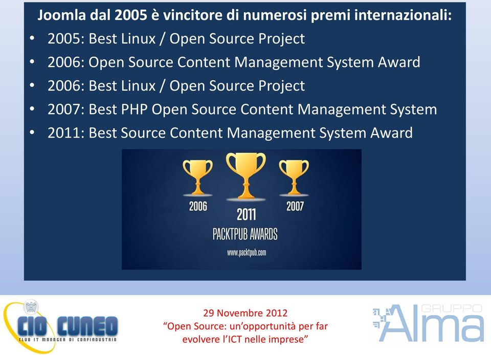 Award 2006: Best Linux / Open Source Project 2007: Best PHP Open Source