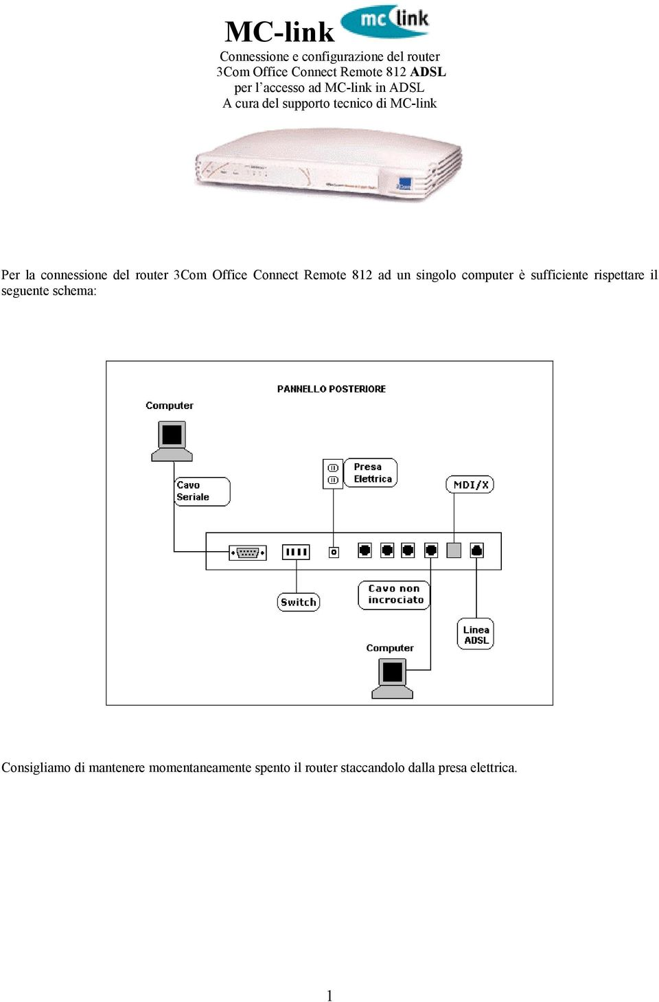 router 3Com Office Connect Remote 812 ad un singolo computer è sufficiente rispettare il