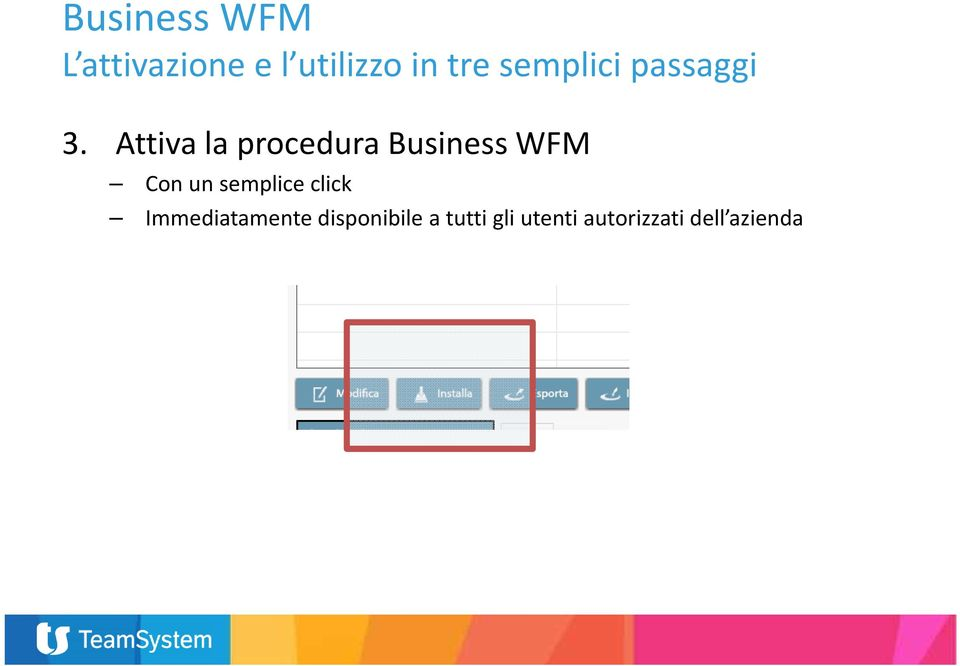 Attiva la procedura Business WFM Con un