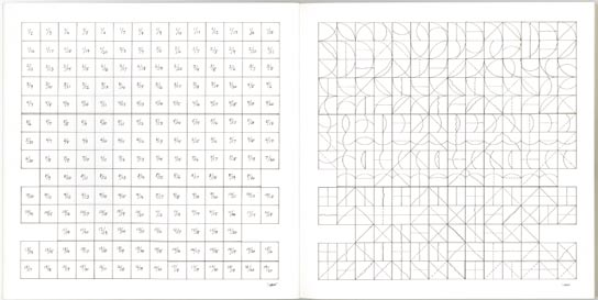 16. All combinations of arcs from four corners, arcs from four sides, straight lines, not-straight lines, and broken lines, Lausanne, Editions des Massons, 1974; 20,3x20,3 cm., brossura, pp.