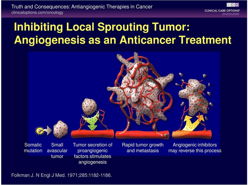 mutation Small avascular tumor Tumor secretion of proangiogenic factors stimulates angiogenesis