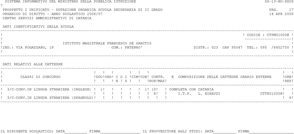 ! ISTITUTO MAGISTRALE FRANCESCO DE SANCTIS!!IND.: VIA FOGAZZARO, 18 COM.: PATERNO' DISTR.