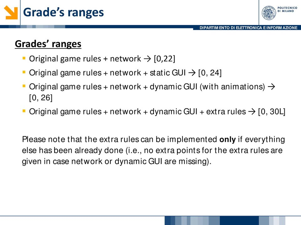 Please note that the extra rules can be implemented only if everything else has been already