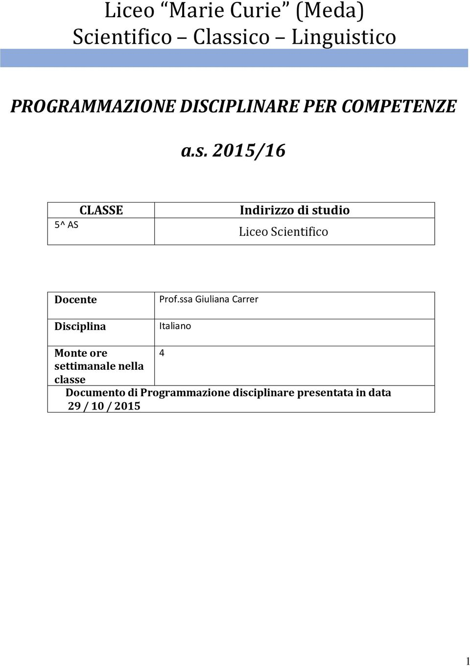 2015/16 5^ AS CLASSE Indirizzo di studio Liceo Scientifico Docente Disciplina Prof.