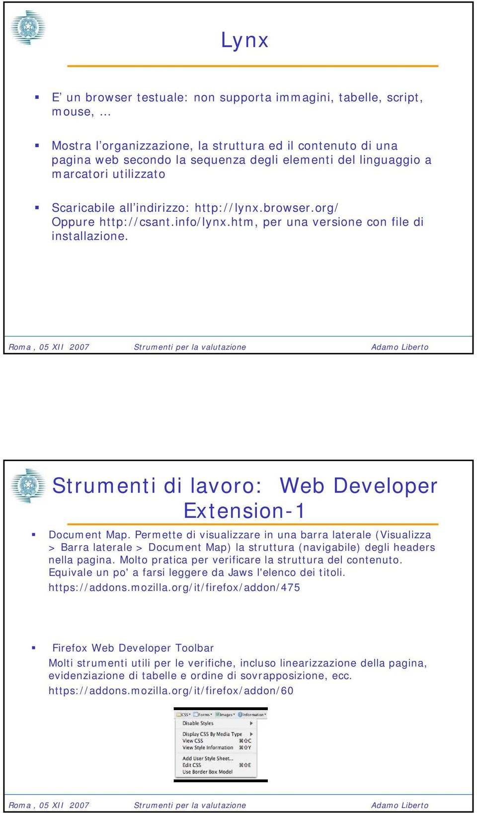 Strumenti di lavoro: Web Developer Extension-1 Document Map.