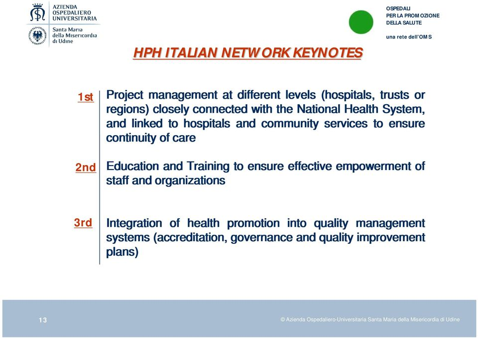 ensure effective empowerment of staff and organizations 3rd Integration of health promotion into quality management systems