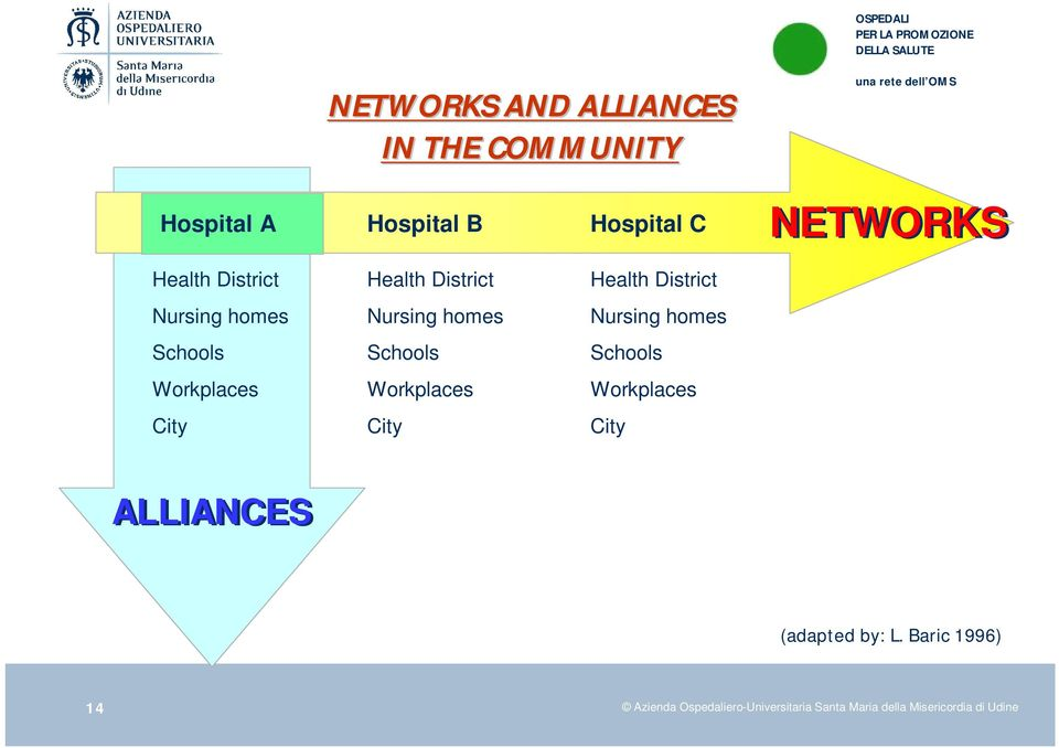 Workplaces City Health District Nursing homes Schools Workplaces City ALLIANCES (adapted