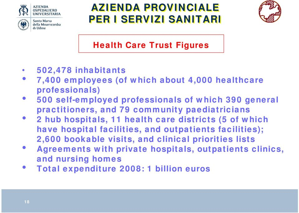 hospitals, 11 health care districts (5 of which have hospital facilities, and outpatients facilities); 2,600 bookable visits, and
