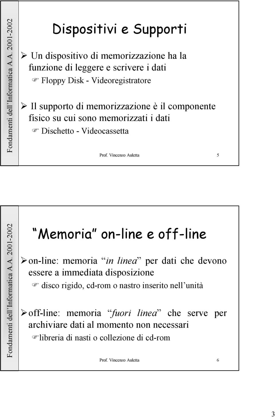 Vincenzo Auletta 5 Memoria on-line e off-line on-line: memoria in linea per dati che devono essere a immediata disposizione disco rigido,