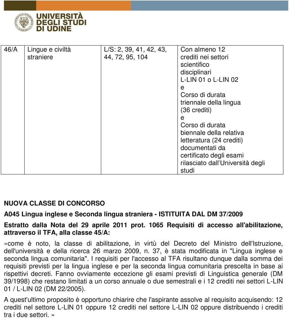 dalla Nota dl 29 april 2011 prot.