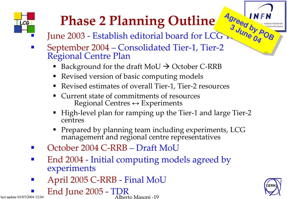 level plan for ramping up the Tier 1 and large Tier 2 centres Prepared by planning team including experiments, LCG management and regional centre representatives October 2004