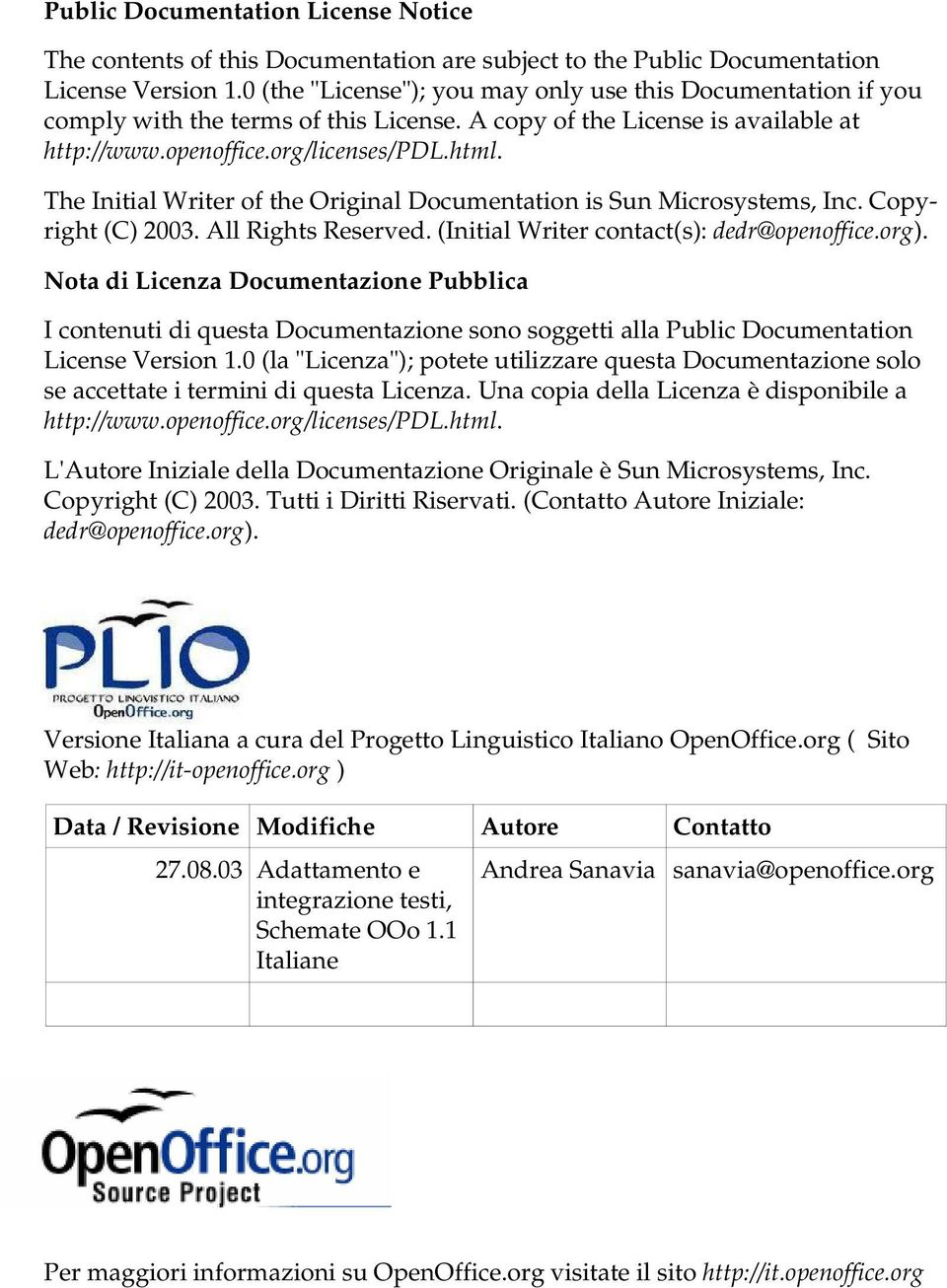The Initial Writer of the Original Documentation is Sun Microsystems, Inc. Copyright (C) 2003. All Rights Reserved. (Initial Writer contact(s): dedr@openoffice.org).