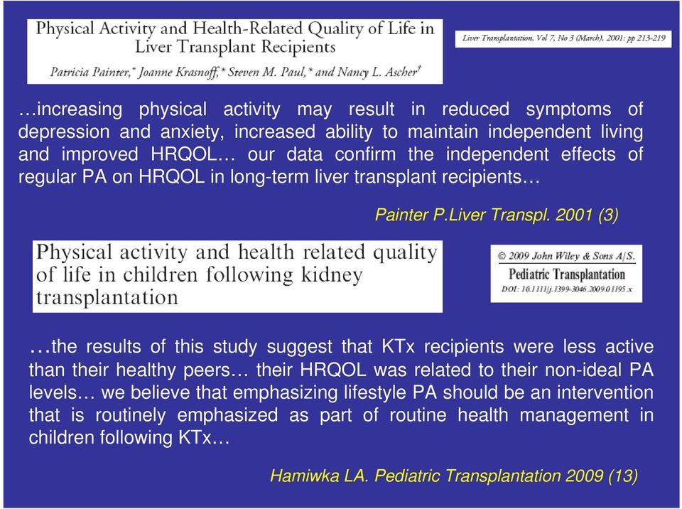 2001 (3) the results of this study suggest that KTx recipients were less active than their healthy peers their HRQOL was related to their non-ideal PA levels we