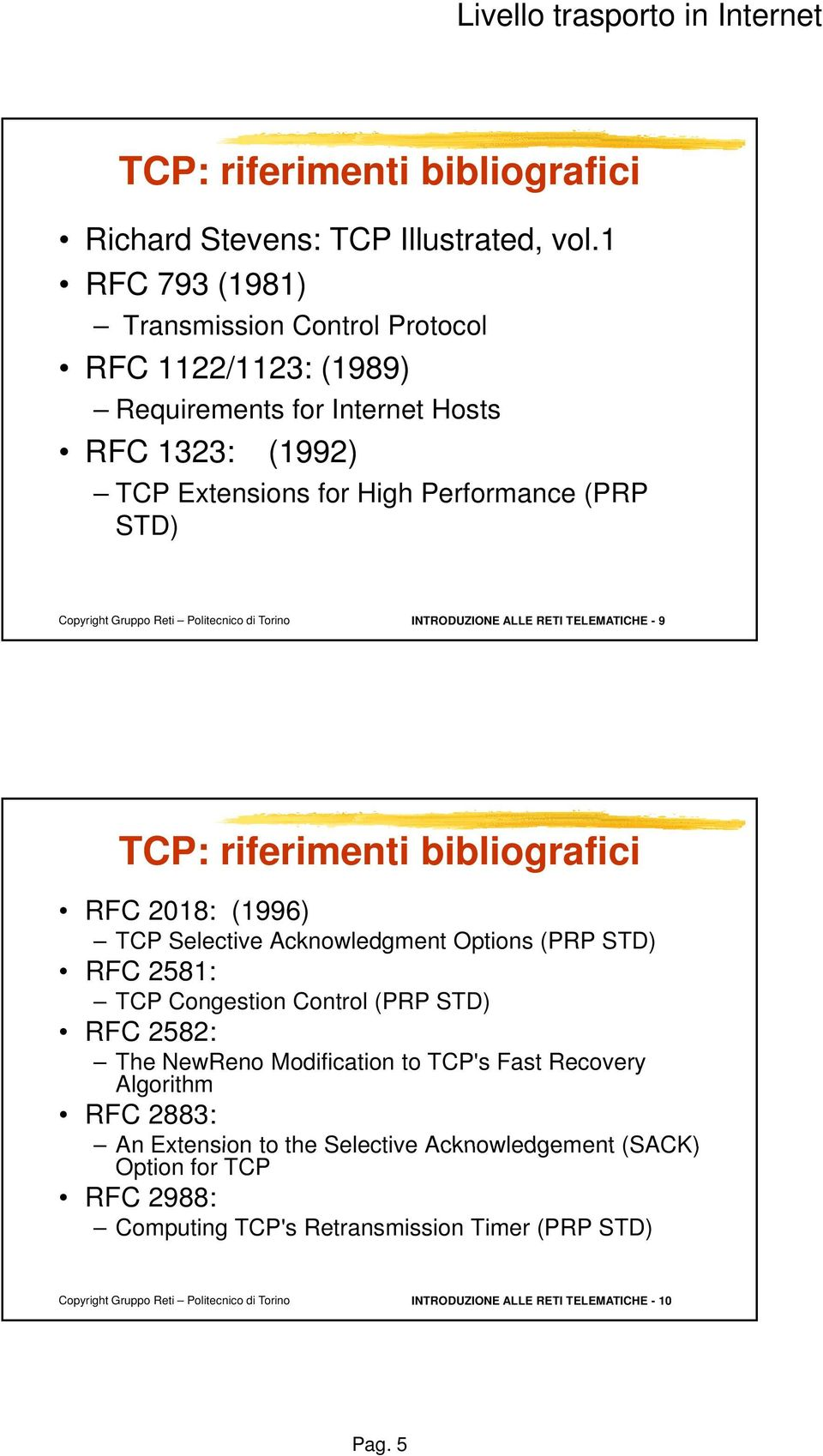 INTRODUZIONE ALLE RETI TELEMATICHE - 9 TCP: riferimenti bibliografici RFC 2018: (1996) TCP Selective Acknowledgment Options (PRP STD) RFC 2581: TCP Congestion