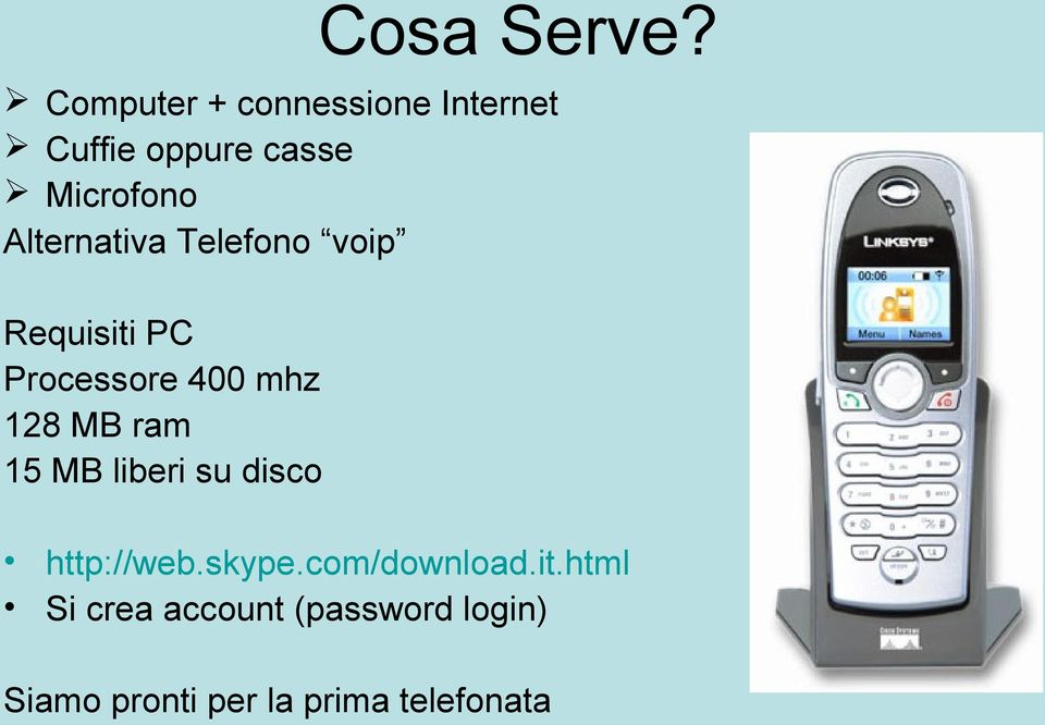 Alternativa Telefono voip Requisiti PC Processore 400 mhz 128 MB