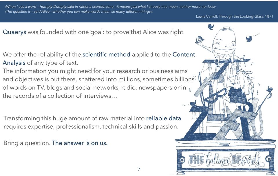 We offer the reliability of the scientific method applied to the Content Analysis of any type of text.